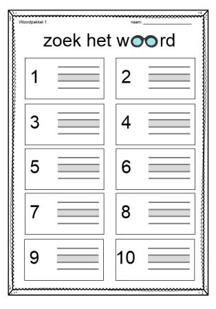 TijdvoorTaal - Woordpakket 1 - Antwoordblad